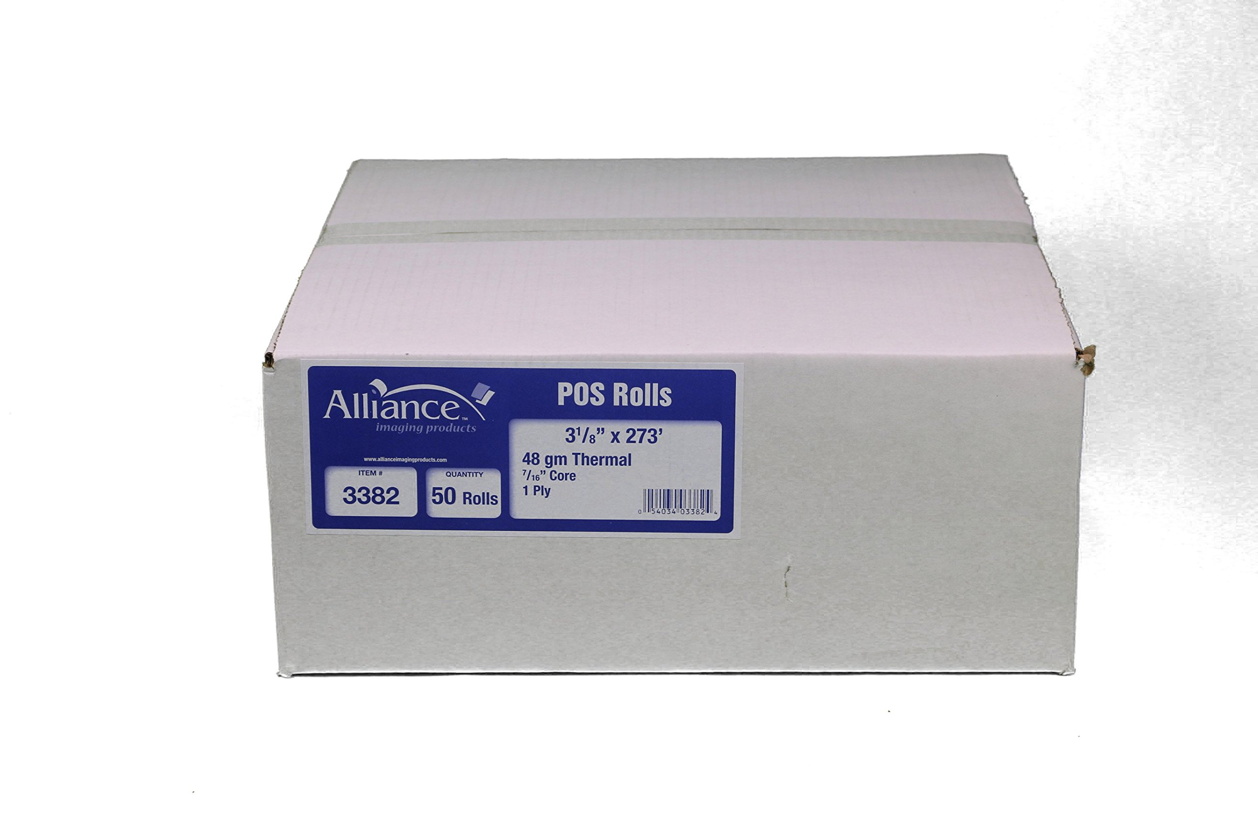 Thermal Paper Receipt Rolls, 48 Gram Weight, BPA Free, Grade A, Pure 85 White Paper, Unique Thermal Coating (3-1/8'' x 273' - 50 rolls)