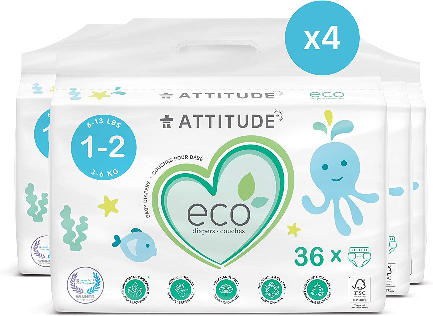 Non-toxic Chlorine-Free /& Leak-Free Size 1-2 4 packs of 36 Plain White Safe for Sensitive Skin Eco-friendly 144 Count ATTITUDE Biodegradable Baby Diapers 6-13 lbs // 3-6 kg