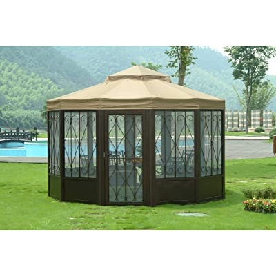 Replacement Canopy Set (Deluxe) for L-gz050pst-4 Gazebo Brown Fabric: Home & Kitchen