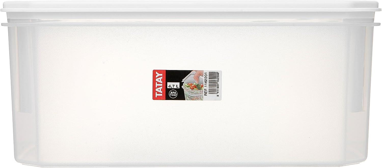 libre de BpA 0,3 litros de capacidad 10 x 10 x 5,5 Pl/ástico transparente con tapa blanca Contenedor de alimentos herm/ético cuadrado con tapa flexible a presi/ón TATAY 1160201