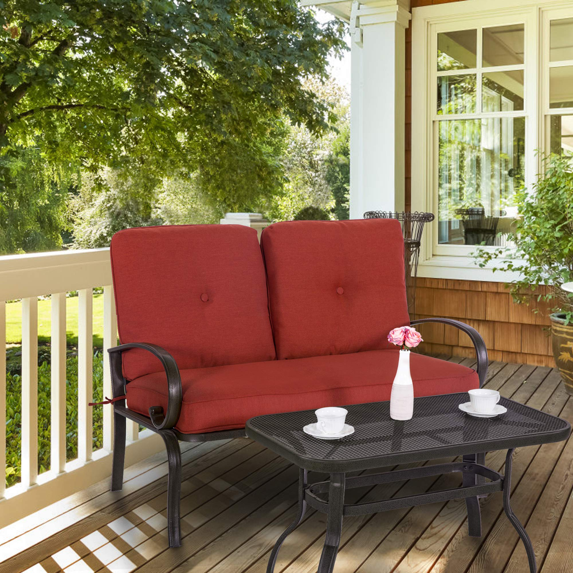 Yardwind Patio Loveseat 2 Pieces Sofa Seating Garden Patio Love Seat Bench Coffee Table Set Durable Wrought Iron Frame Thick Cushions Patio, Yard, Porch, Garden, Backyard, Balcony (Brick Red)