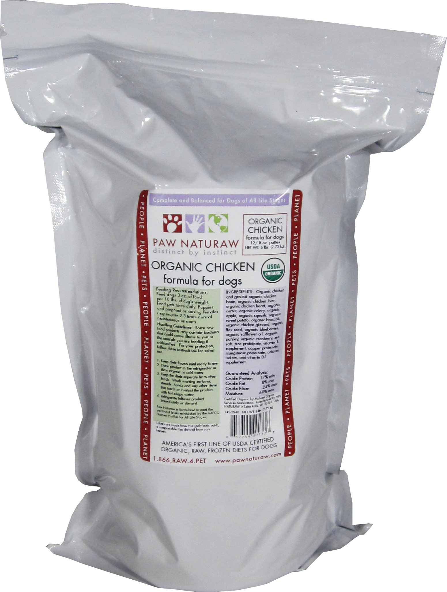 Paw Naturaw Organic Chicken Formula for Dogs, Patties (Pack of 5)