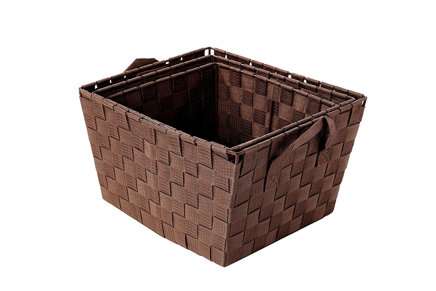Juvale Woven Storage Baskets - 3-Piece Storage Tote Baskets, Woven Strap Organization Containers, Decorative Shelf Baskets for Home Closet, Bedroom Drawers - Small, Medium, Large - Brown - VERSATILE SET: This set of 3 baskets are the ideal utility/storage basket, they look great in any room and the varying sizes make this set versatile. STACKABLE WHEN NOT IN USE: The baskets stack inside of each other allowing for convenient and easy storage when not in use. CONVENIENT SIDE HANDLES: Integrated handles easily help you transport basket from one place to another. - living-room-decor, living-room, baskets-storage - 81z3XVw9gKL -