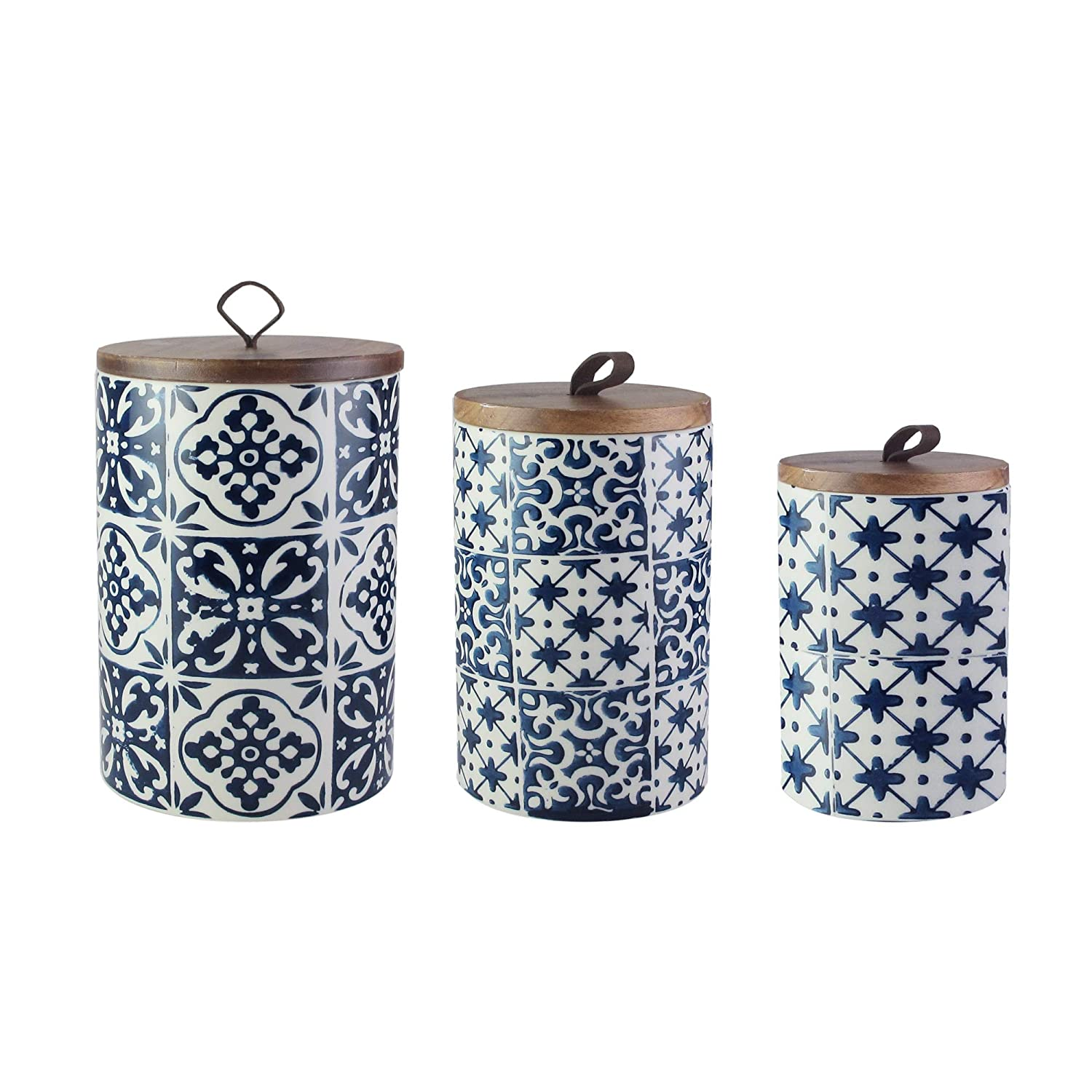 American Atelier Ceramic Canister Set with Wooden Lids Jar Container for Kitchen Food Storage Medallions Blue 3 Piece Set 7106-CAN-RB