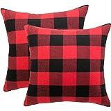 Famibay Square Tartan Cotton Linen Throw Pillow Case Cushion Cover 18 x 18 - Pillow cover Decorative (Color 6)
