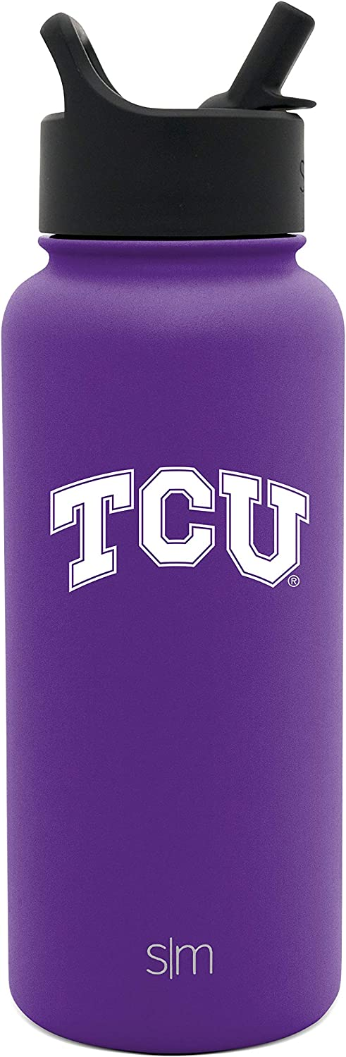 NCAA TCU Vacuum Insulated Water Flask Travel Coffee Tumbler 18//8 Stainless Steel Simple Modern 32oz Summit Water Bottle with Straw Lid