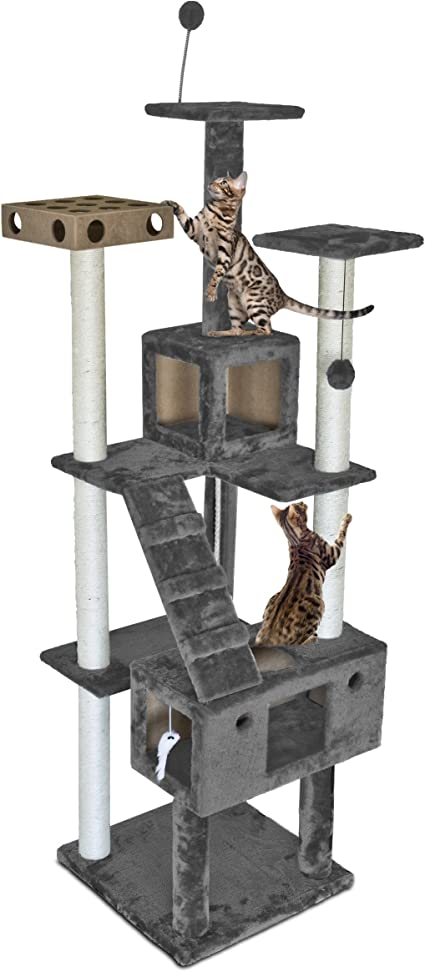 Furhaven Pet Cat Tree Tiger Tough Cat Tree House Condo Entertainment Playground Furniture For Cats And Kittens Double Decker Playground Silver Gray Amazon Ca Pet Supplies