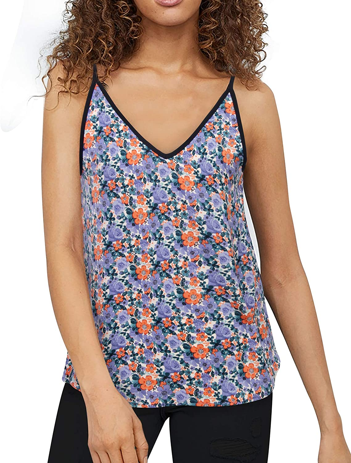 Timeson Women's V Neck Floral Tank Tops Casual Sleeveless Chiffon Blouse Shirts