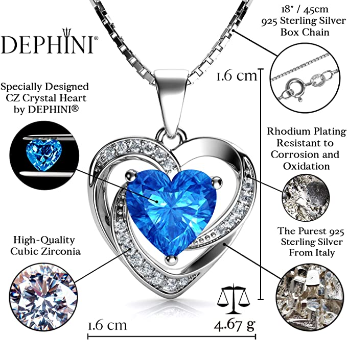 18-Inch Rhodium Plated Necklace with 4mm Aqua Birthstone Beads and Sterling Silver Heart Charm.
