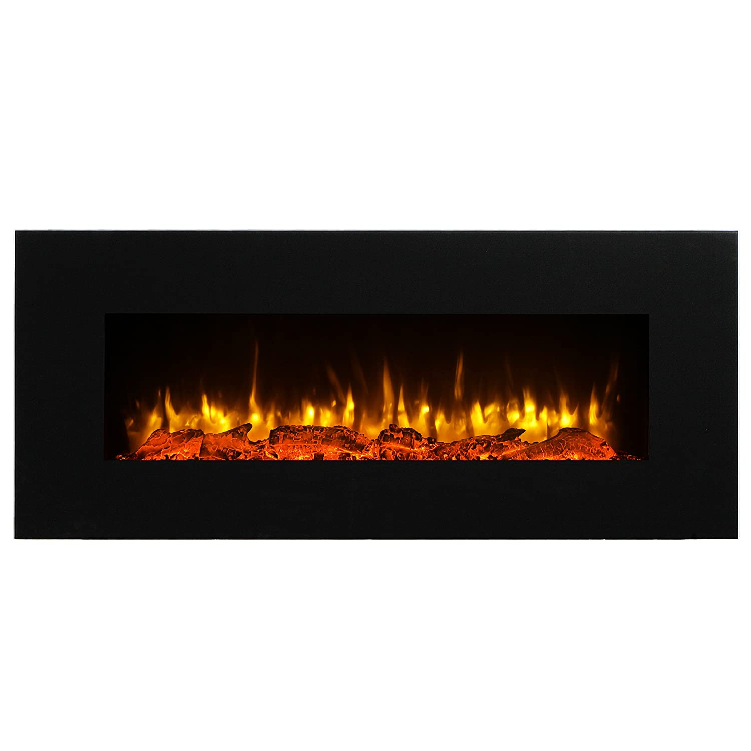 PuraFlame Serena 50 Inches Wall Mounted Linear Electric Fireplace, Log Set, Remote Control, 1500W, Black