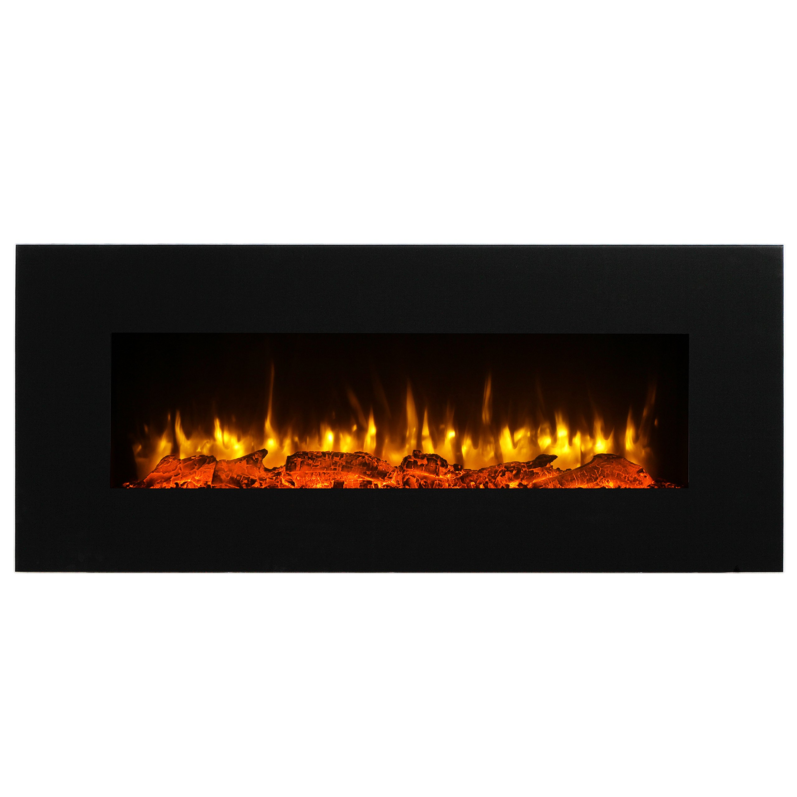 PuraFlame Serena 50 Inches Wall Mounted Linear Electric Fireplace, Log Set, Remote Control, 1500W, Black by PuraFlame