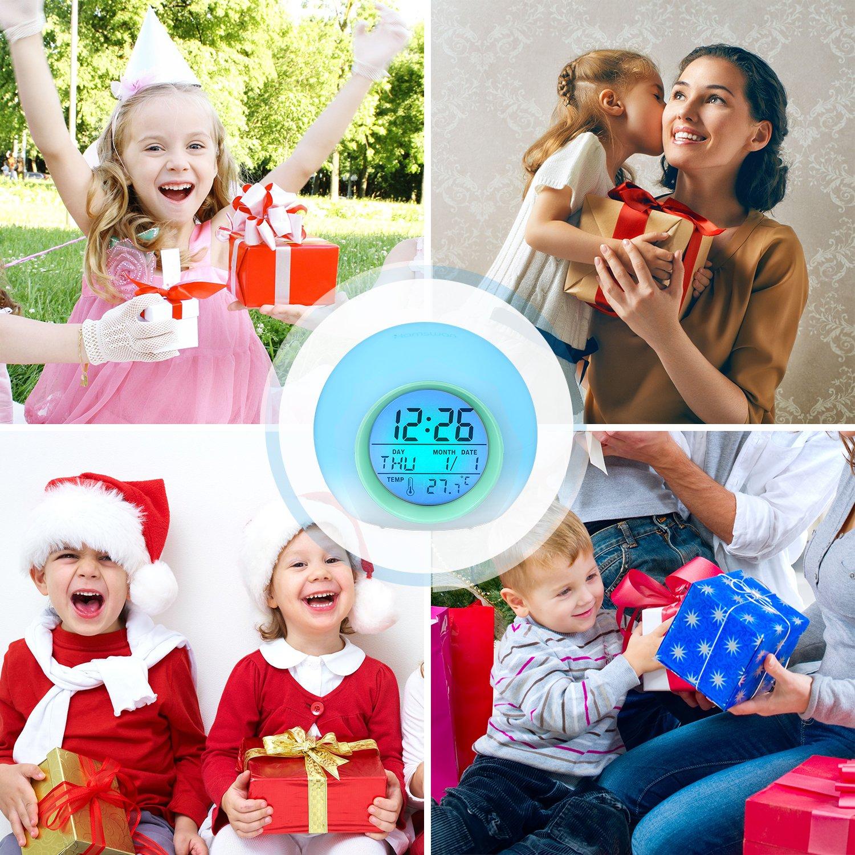 HAMSWAN R/éveil num/érique pour Enfants avec 7 Couleurs de lumi/ères LED et 8 Types de Sons Vert