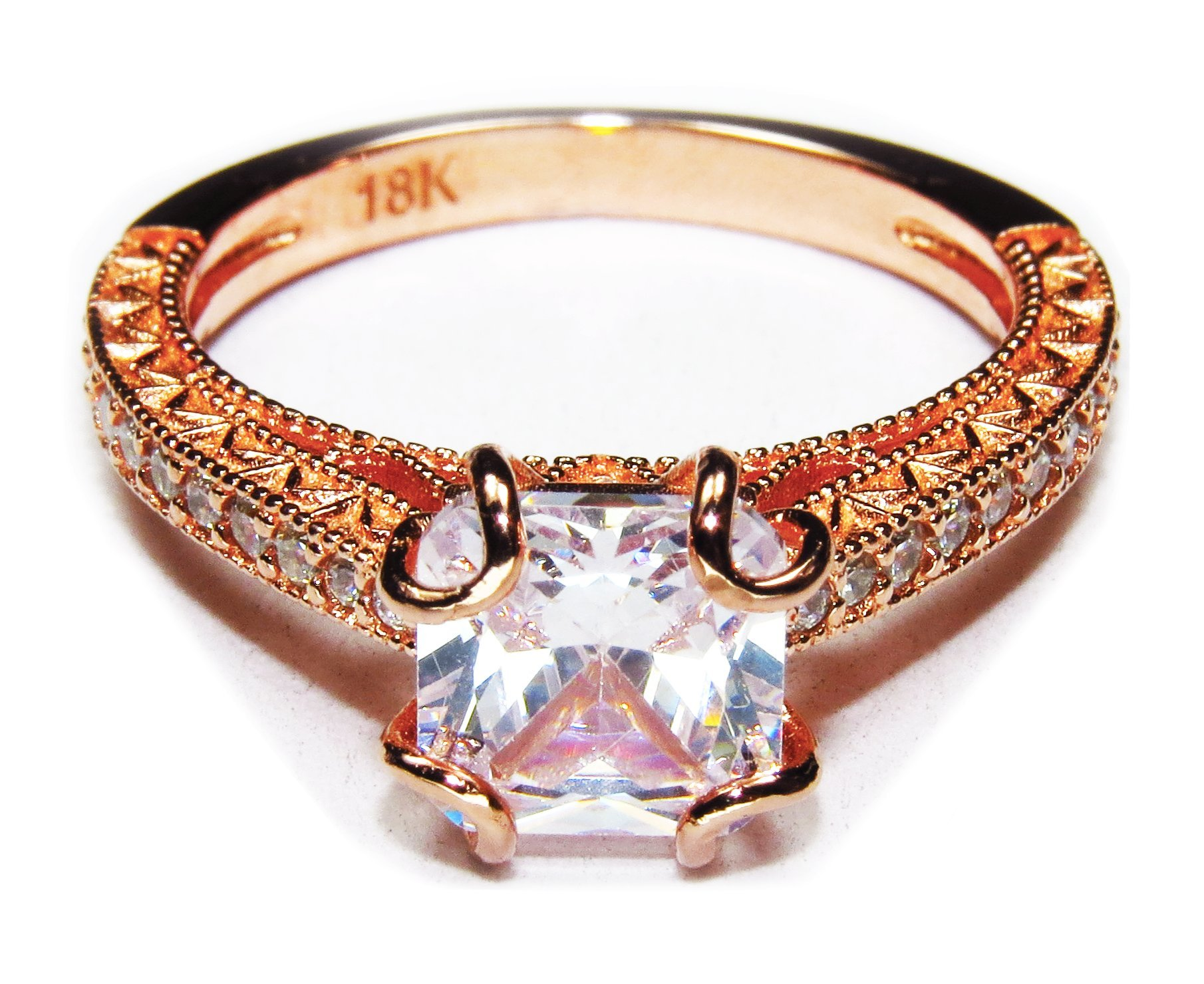 AndreAngel Women Ring Rose Gold 18K Princess Cut/Lab Diamond 6 mm Carat Cubic Zirconia AAA+/Bridal Birthday Dating Gift Anniversary Promise Engagement or Wedding Mother's Day (6)
