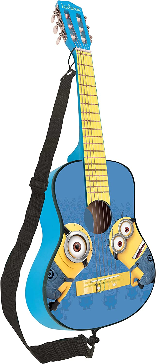Blue//Yellow Learning Guide Included K2000DES LEXiBOOK Universal Despicable Me Minions Wooden Acoustic Guitar