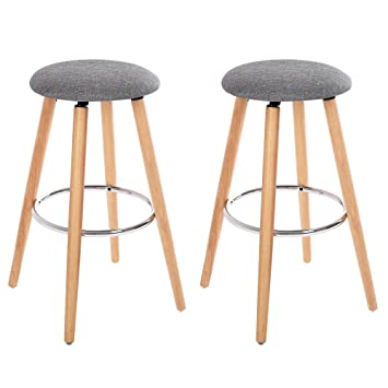 Songmics Set Of 2 Bar Stools Height 279 Inches Kitchen Breakfast Round Wood Barstool With Linen Fabric Seat Gray Uljb22g