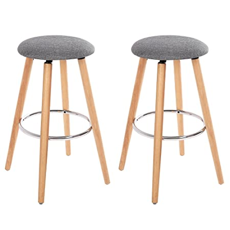 SONGMICS Set of 2, Bar Stools, Height 27.9 , Kitchen Breakfast Round Wood Barstool, with Linen Fabric Seat, Gray ULJB22G