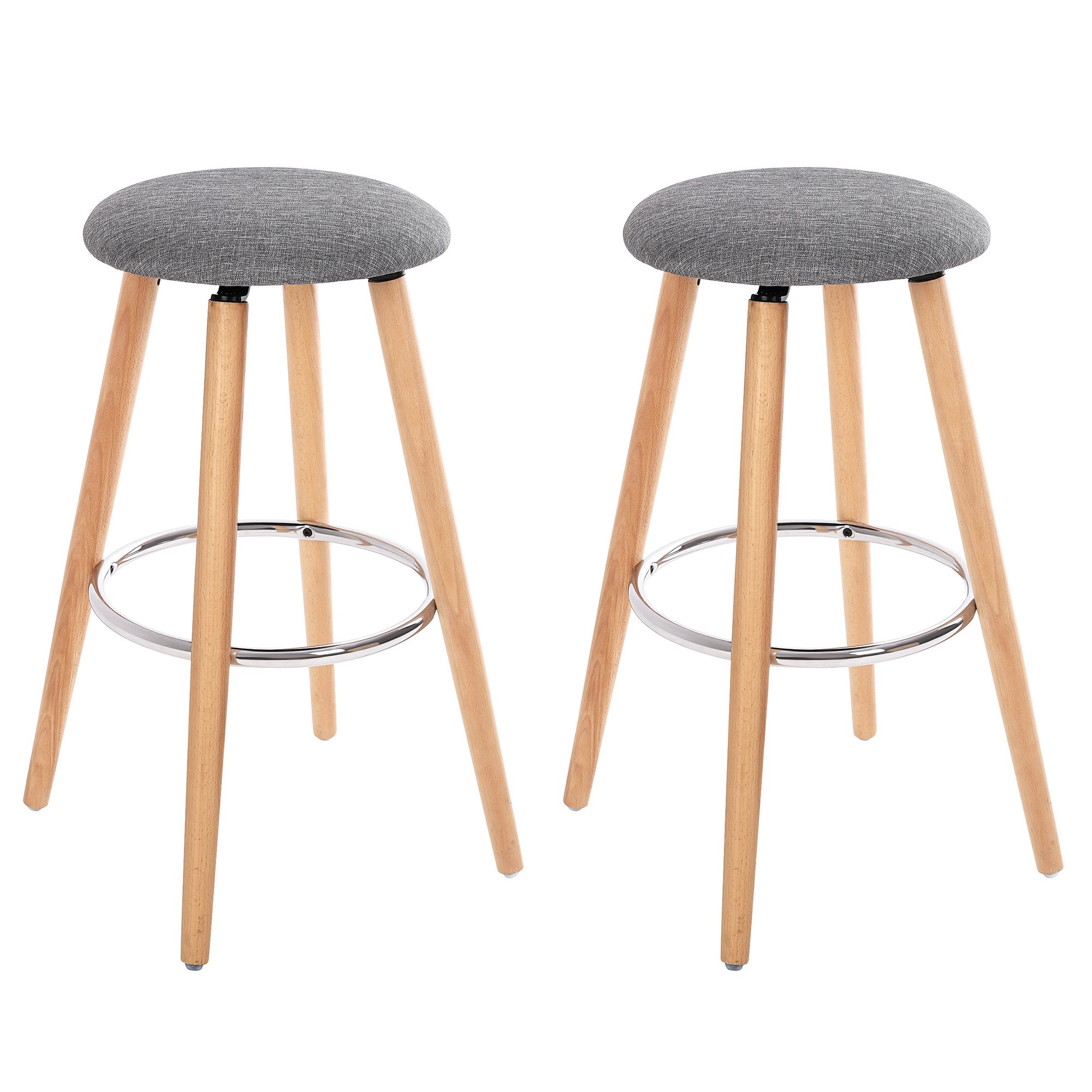 SONGMICS Set of 2, Bar Stools, Seat Height 27.9'', Kitchen Breakfast Round Wood Barstool, with Linen Fabric Seat, Gray ULJB22G