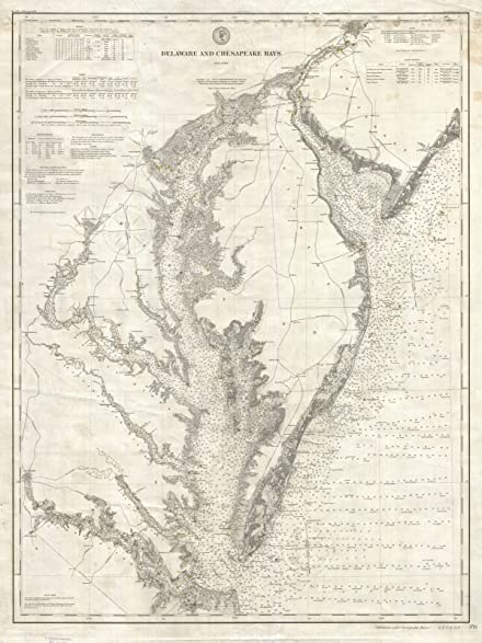 Historic 1893 U S Coast Survey Nautical Chart Or Map Of The Chesapeake Bay And Delaware Bay