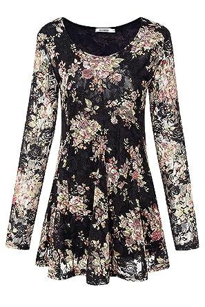 709033c33557 Women's Plus Size Lace Floral Tunic Tops Loose Fit Flare Hem T-Shirt  Blouses (