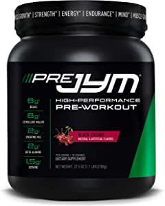 Pre JYM Pre Workout Powder - BCAAs, Creatine HCI, Citrulline Malate, Beta-Alanine, Betaine, and More | JYM Supplement Science | Black Cherry Flavor, 30 Servings
