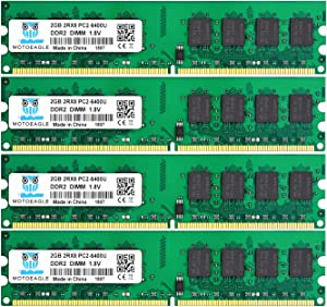 DDR2 PC2 6400 800 MHz Udimm RAM, Motoeagle 8GB Kit (2GBX4) PC2 6400U 1.8V Unbuffered Desktop Memory Modules