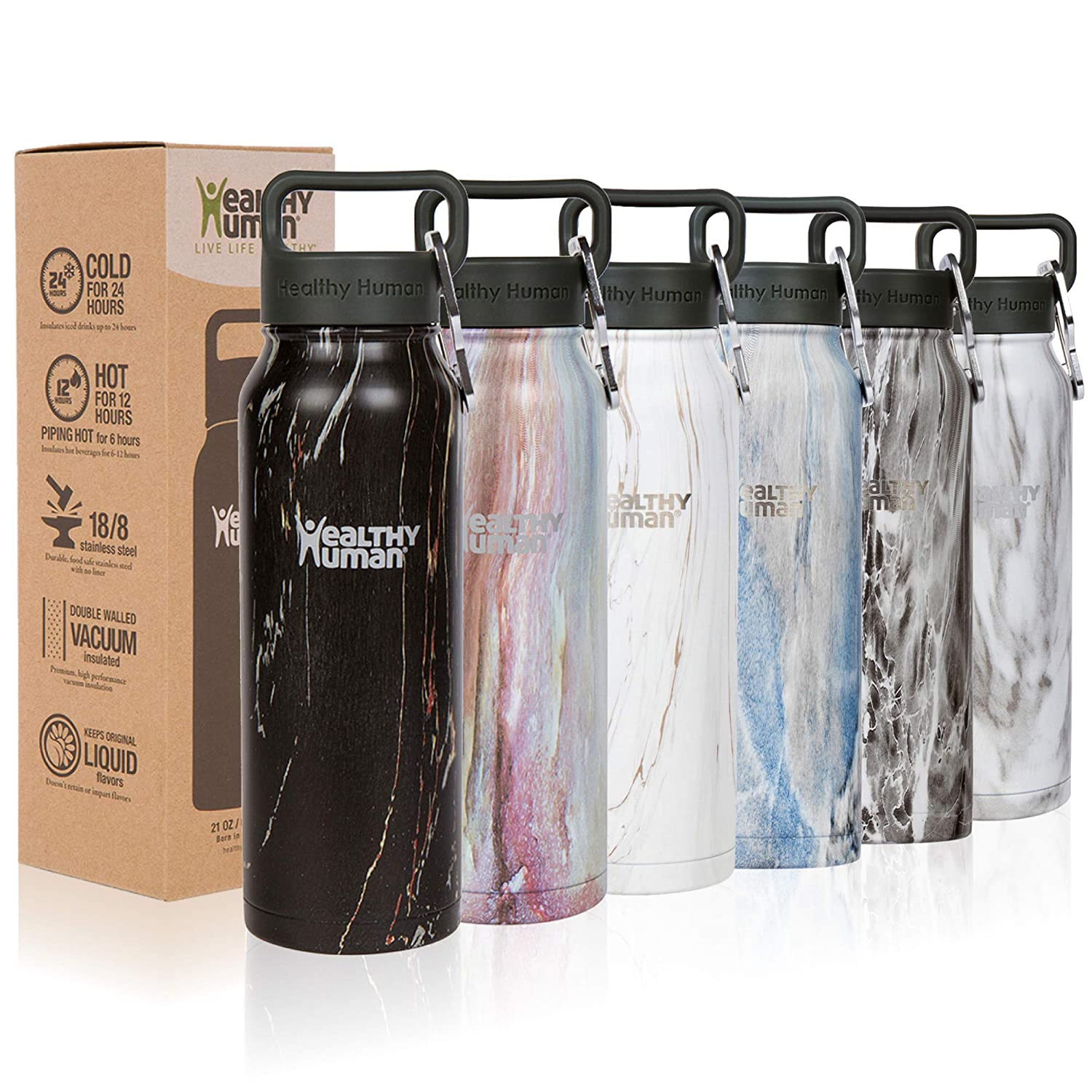 Black Onyx 32 oz Healthy Human Stainless Steel Water Bottle Stein  Thermo Insulated Reusable Flask  Cold 24 Hrs Hot 12 Hrs  Double Wall  w Hydro Guide.  4 Sizes & 7 colors