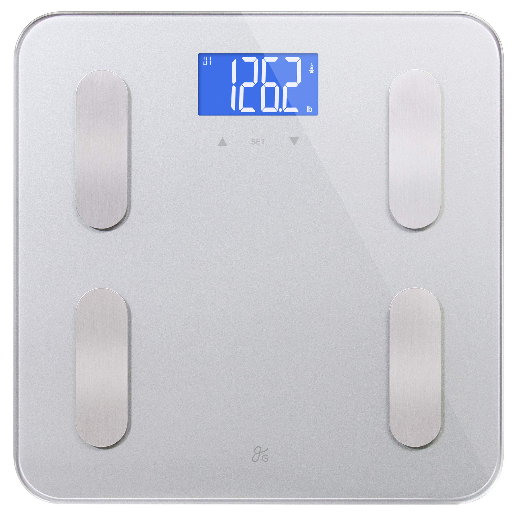 Digital Body Fat Weight Scale by GreaterGoods, (2019 Update) Accurate Health Metrics, Body Composition & Weight Measurements, Glass Top, with Large Backlit Display (Grey)
