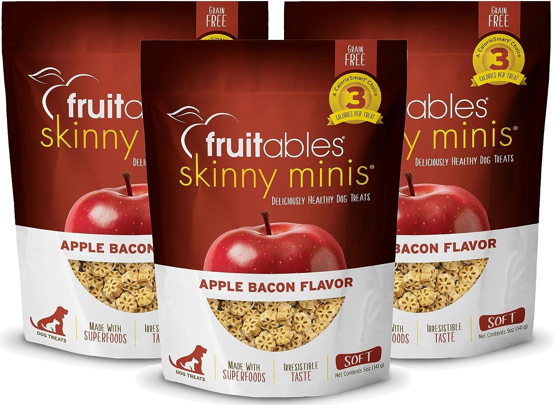 Fruitables Skinny Minis Grain Free Soft Dog Treats Apple Bacon Flavor (3 Pack) 5 oz Each