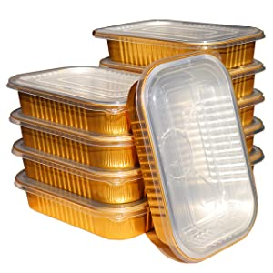 MROJER Golden Thick Aluminum Foil Trays with Lids, 1000ML Reinforced Disposable Bakeware Pans, Food Containers for Baking Cooking Storing and Takeaway (10 Sets)