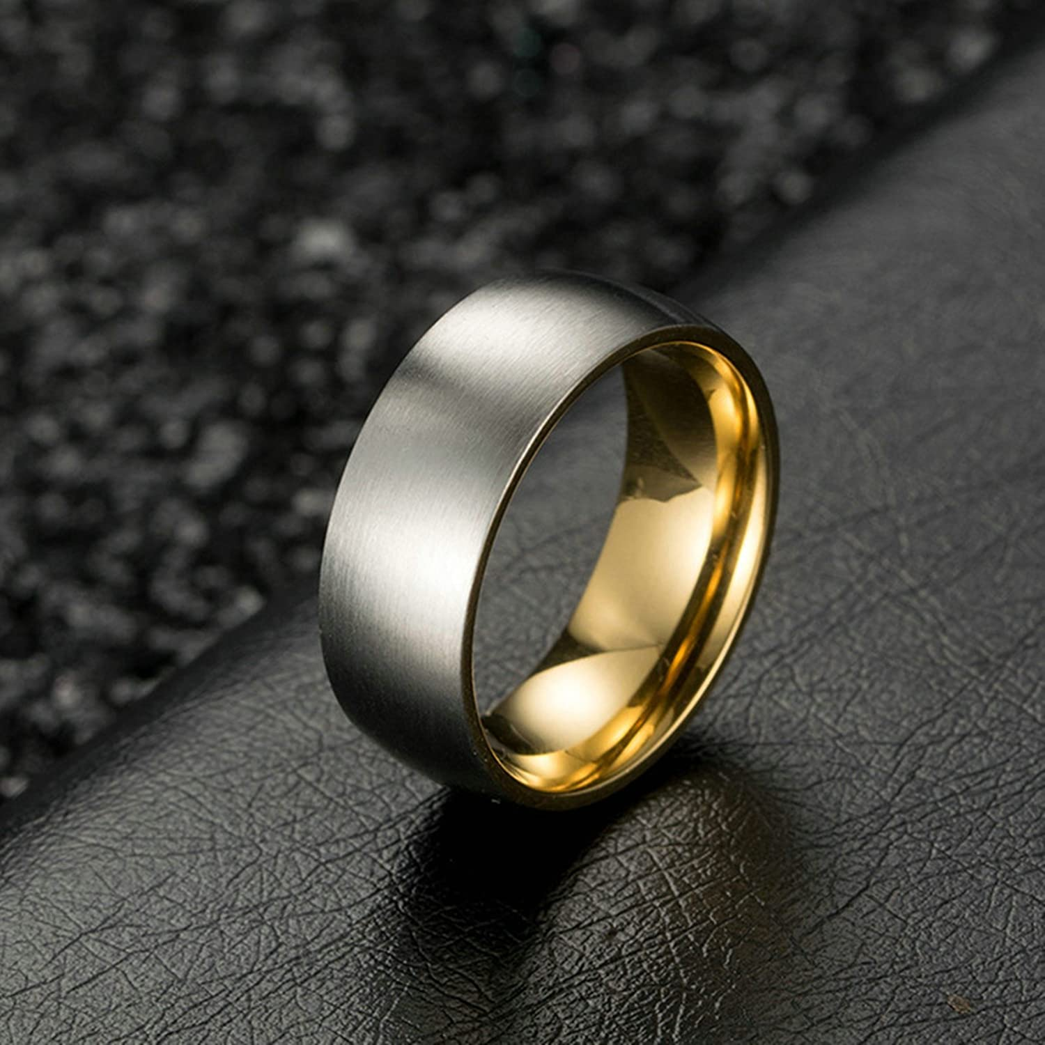 Bishilin Stainless Steel Rings for Him Matt Round Width 8 Mm Wedding Ring for Men Gold Size 12