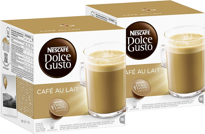 Nescafé Dolce Gusto - Café con leche, pack de 2, 2 x 16 cápsulas ...