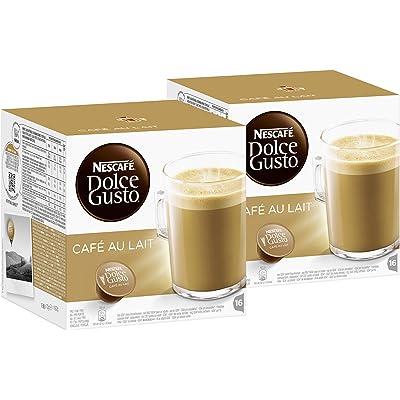 Nescafé Dolce Gusto - Café con leche, pack de 2, 2 x 16 cápsulas