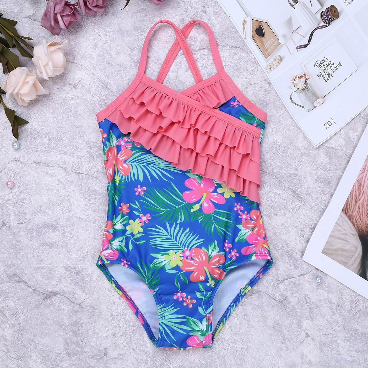 dPois Kids Girls One-Piece Floral Printed Ruffles Swimsuit Swimwear Criss Cross Back Bathing Suit