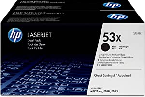 HP 53X (Q7553XD) Black High Yield Original LaserJet Toner Cartridges, 2 pack DISCONTINUED BY MANUFACTURER