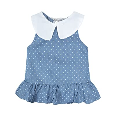 BIG ELEPHANT Baby Girls'1 Piece Sleeveless Dot Print Summer Dress Sundress T30