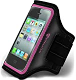 iPhone 4 4S Armband : Stalion Sports Running & Exercise Gym Sportband (Fuchsia Pink) Water Resistant + Sweat Proof + Key Holder