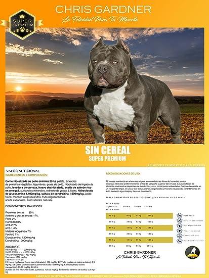 Pienso para perros, Saco Chris Gardner 15kg Sin Cereal. Comida para perros, Alimento para perros con carne de pollo, patata y huevo.