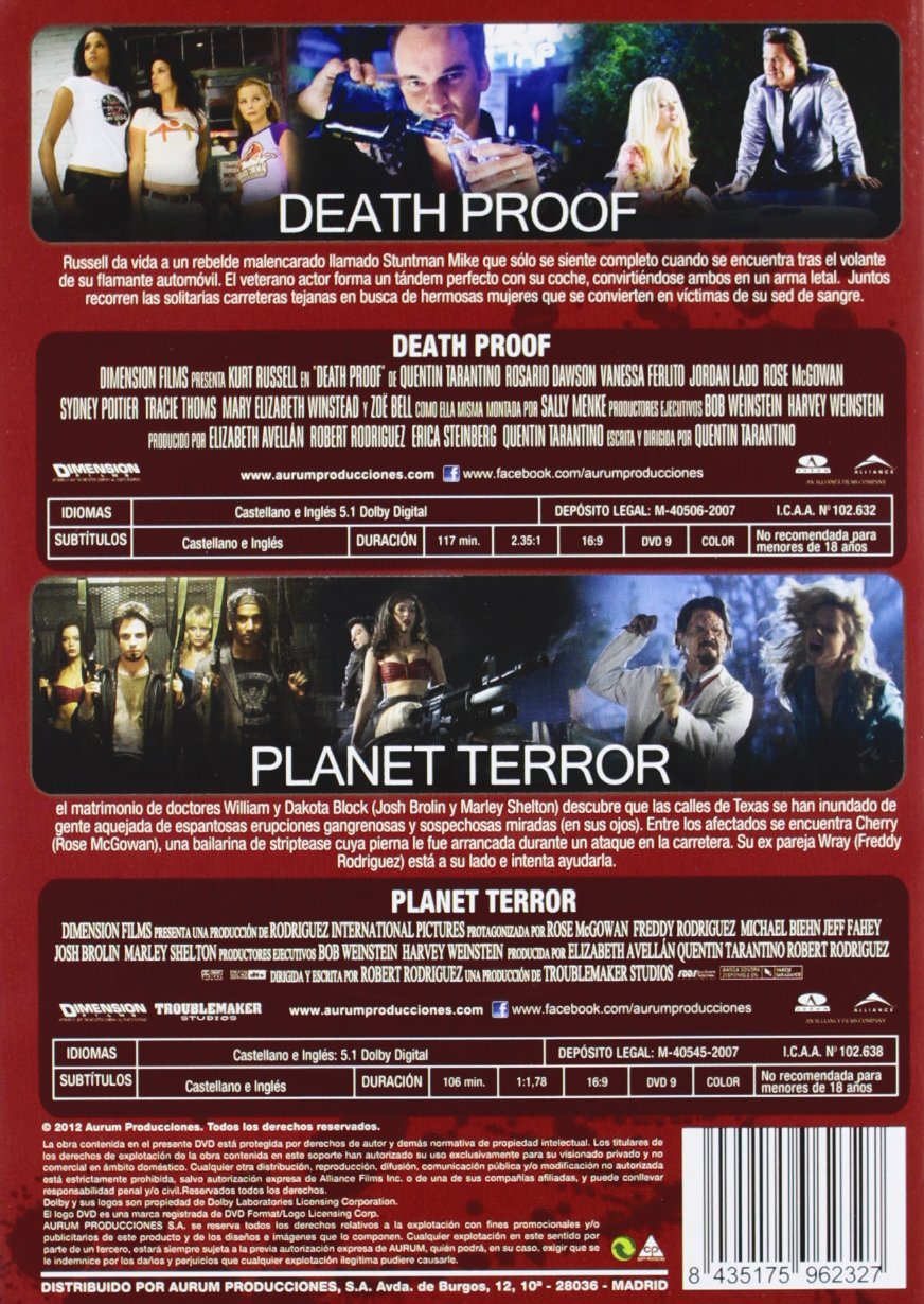 Pack Grindhouse: Death Proof + Planet Terror [DVD]: Amazon.es: Kurt Russell, Rosario Dawson, Rose Mcgowan, Freddy Rodriguez, Quentin Tarantino, Robert Rodriguez, Kurt Russell, Rosario Dawson, Quentin Tarantino, Robert Rodriguez: Cine y Series