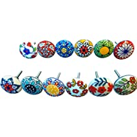Confezione da 12 pomelli, in stile vintage, motivo floreale, in ceramica, per porta, armadio, cassetto e credenza.