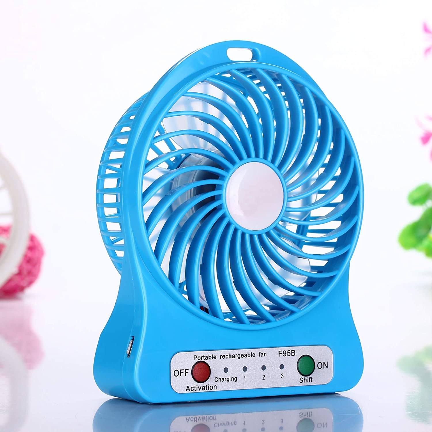 Portable Fan Mini USB Rechargeable Fan with 2200mAh Battery Operated and Flash Light,for Traveling,Fishing,Camping,Hiking,Backpacking,BBQ,Baby Stroller,Picnic,Biking,Boating Pink