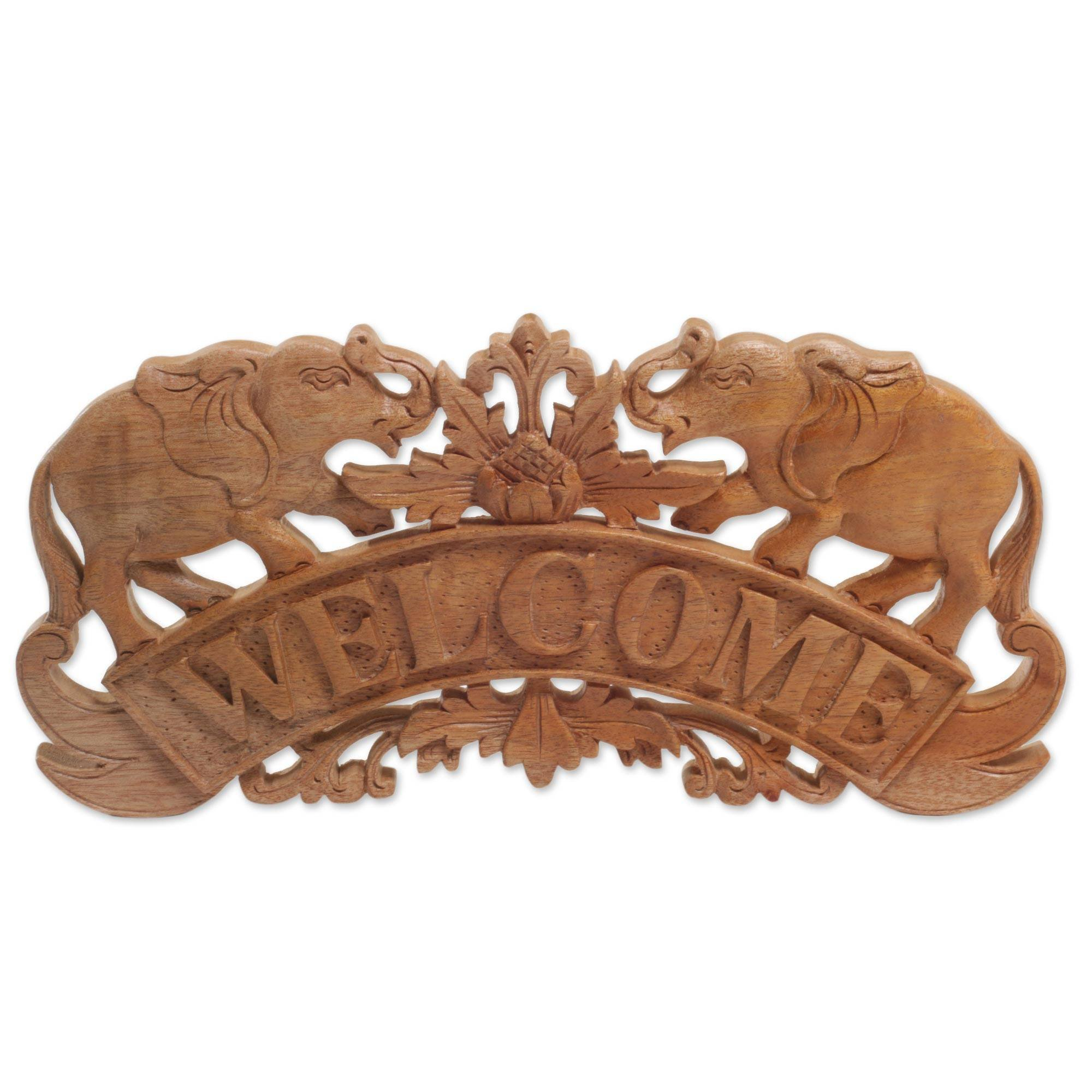 NOVICA Animal Themed Wood Wall Sculpture, Brown, Majestic Welcome'