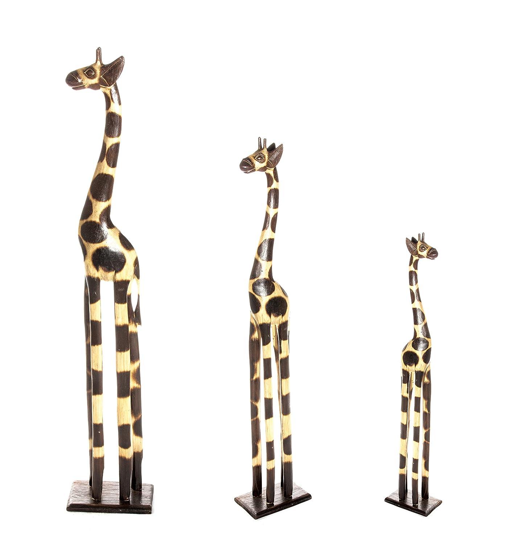 3 Set 200cm 180cm 120cm Holz Holzgiraffen Familie Holzgiraffe Giraffe Afrika Stil GH