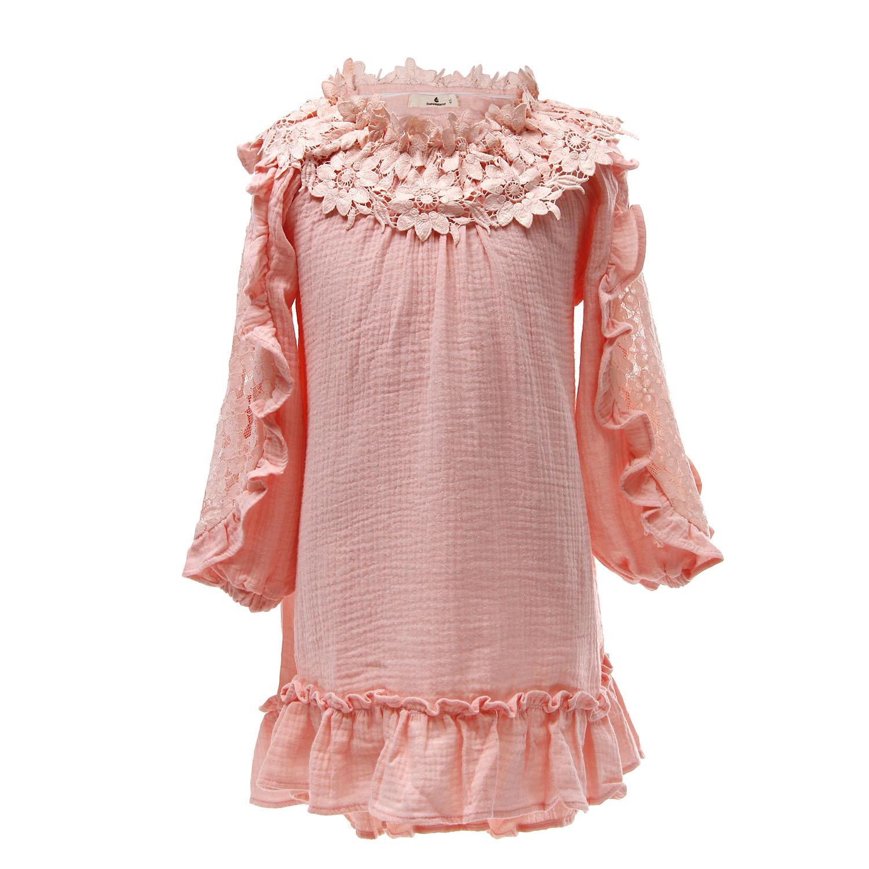 4b578f245aa Everweekend Girls Flower Neckline Ruffles Asymmetric Pink Lace ...