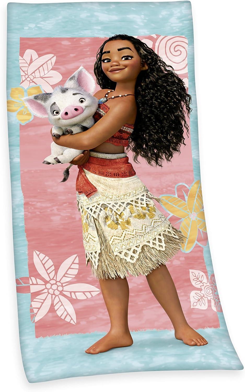 Disney VAIANA Geschenkidee f/ür M/ädchen Farbenfrohes Kuschelhandtuch aus Baumwolle 70 x 140 cm