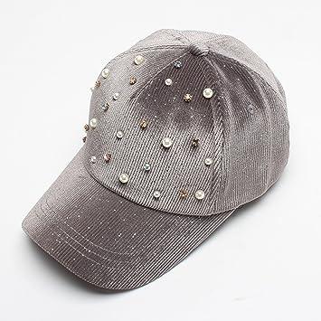 Versión coreana de la perla de pana decorativa gorra de béisbol 2018 otoño  nueva estrella de lentejuelas sombrero al por mayor 81c749e86e1