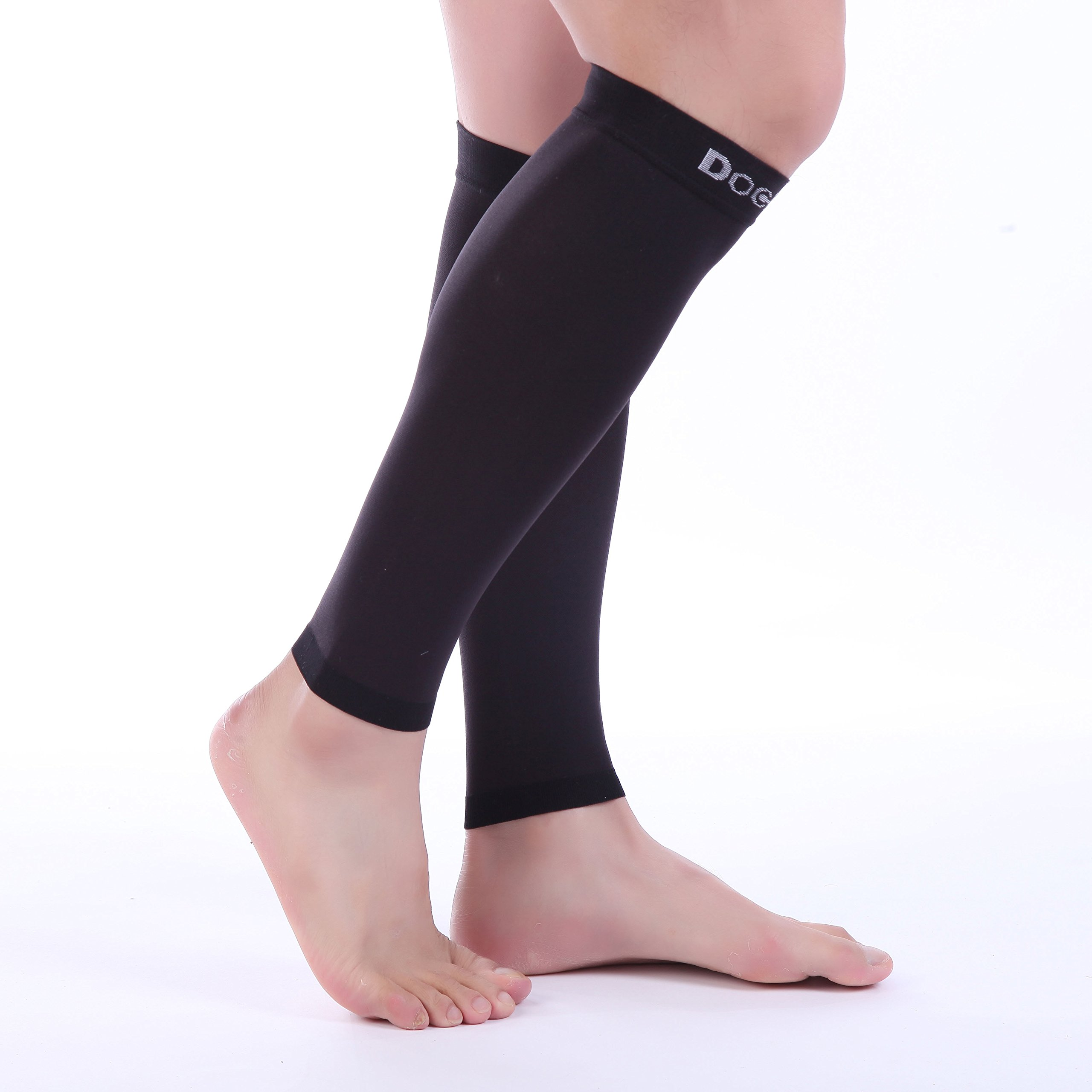 Doc Miller Premium Calf Compression Sleeve 1 Pair 20-30mmHg Strong Calf Support Graduated Pressure for Sports Running Muscle Recovery Shin Splints Varicose Veins (Black, 2-Pack, Large) by Doc Miller (Image #2)