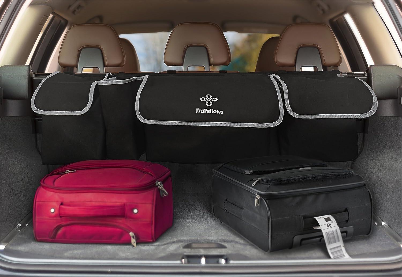 Schwarz Platzsparender Kofferraum-Organizer Ger/äumige Aufbewahrungstasche f/ür Reise-Utensilien /& Spielzeug TraFellows Premium-Kofferraum-Tasche h/ängend f/ürs Auto
