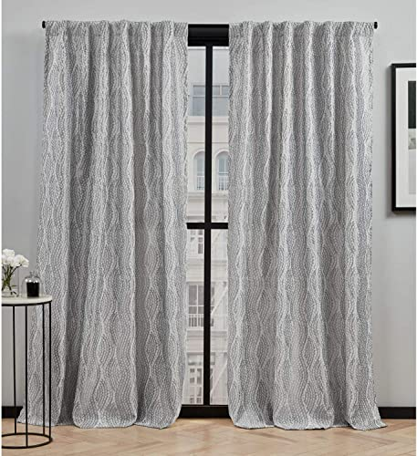 Elle Decor Peconic Light Filtering Back Tab Rod Pocket Curtain Panel Pair