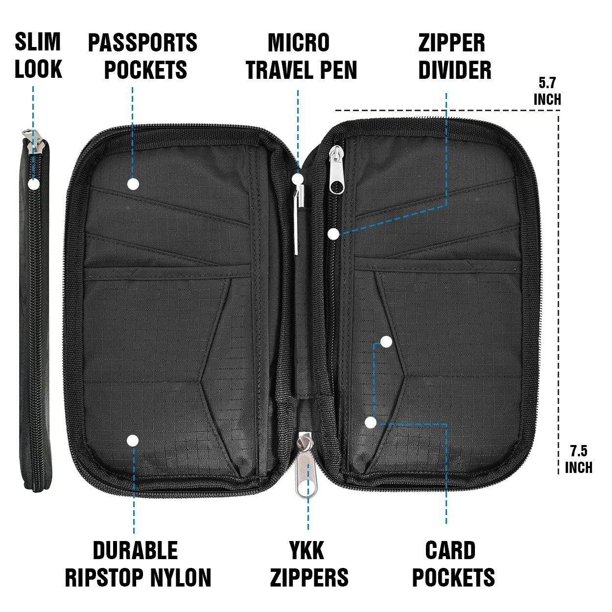 Black Travel Wallet /& Family Passport Holder RFID Blocking Document Holder /& Organizer Protects Your Passports