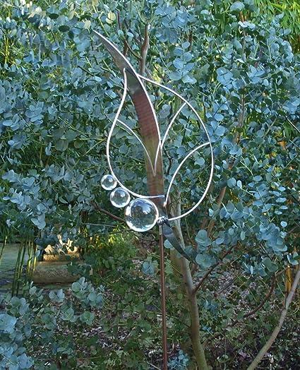 Gartenstecker Edelstahl Glas moderne Gartendeko Pflanzenstecker Blatt XL Aufsatz